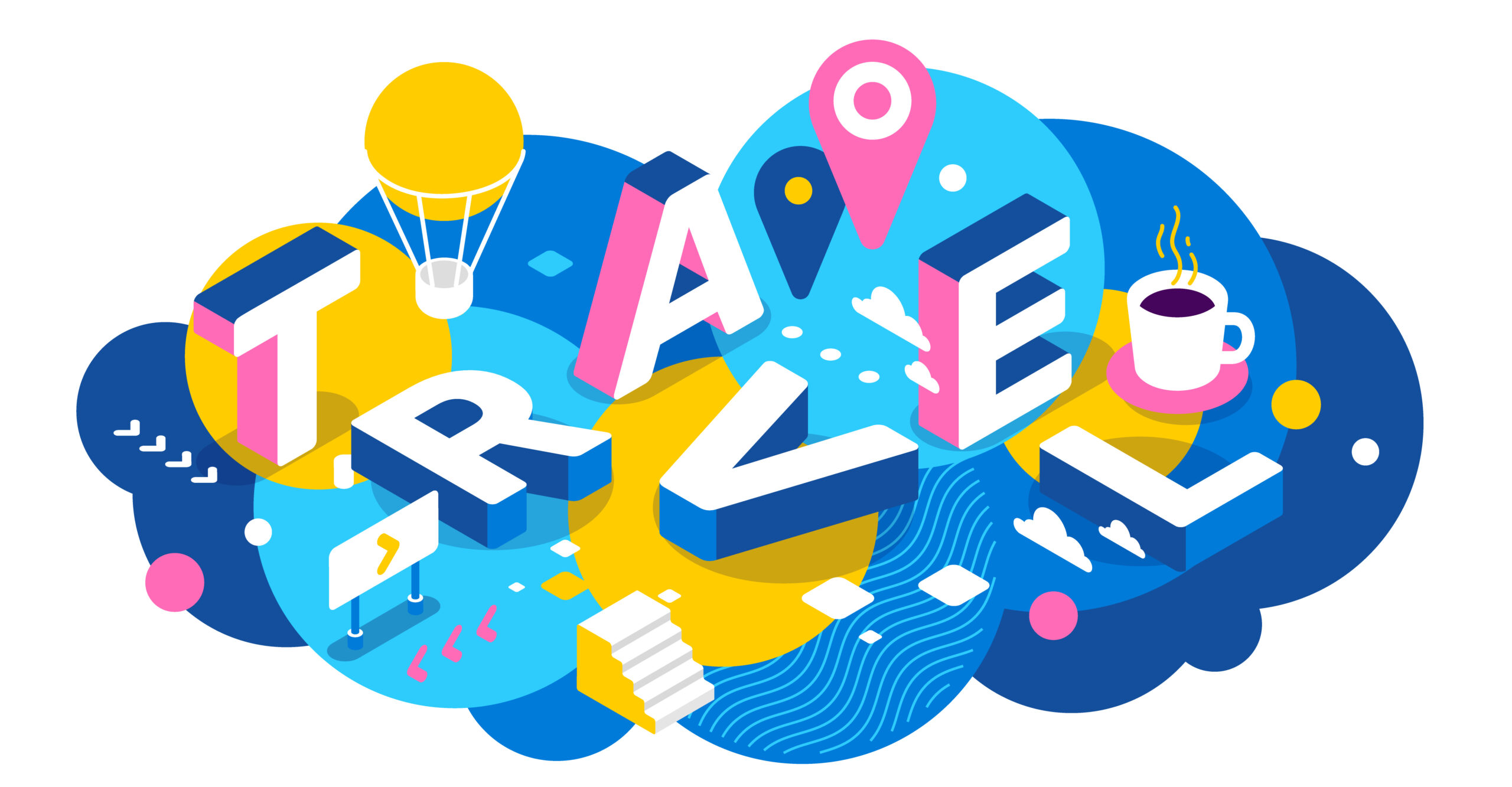 Vector creative abstract horizontal illustration of 3d travel word lettering typography on colorful background. Travel company concept with air balloon, decor element. Isometric design for business tourist advertising web, site, banner
